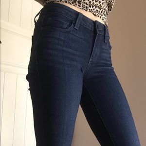 Paige Dark Wash Cropped Straight Leg